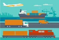 Servizi di distribuzione Nave, camion, automobile, treno, aeroplano Fotografia Stock Libera da Diritti