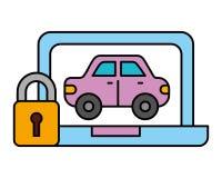 Servizio automobilistico di sicurezza di trasporto del veicolo dell'automobile del computer portatile illustrazione di stock