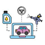 Servizio automobilistico diagnostico del veicolo del computer portatile illustrazione vettoriale