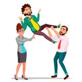 Servizio clienti, impiegato in vestito che tiene un cliente felice sopra il suo vettore capo Illustrazione isolata illustrazione di stock