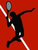 Servizio del giocatore di tennis Fotografie Stock Libere da Diritti