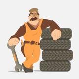 Servizio del pneumatico della gomma di automobile Immagini Stock