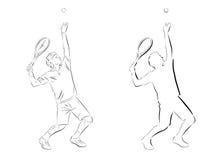 Servizio del tennis di Slhouette Immagini Stock