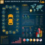 Servizio dell'automobile, riparazione Infographics Fotografia Stock Libera da Diritti