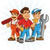 Servizio dell'impianto idraulico Progettazione del fumetto dell'idraulico grafico immagini stock libere da diritti