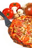Servizio della fetta della pizza immagine stock libera da diritti
