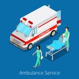 Servizio di ambulanza isometrico con l'automobile di emergenza, l'infermiere Doctor ed il paziente Fotografie Stock