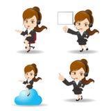 Servizio di assistenza al cliente della donna di affari del fumetto Fotografie Stock Libere da Diritti