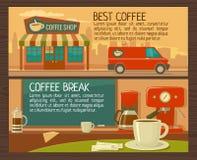 Servizio di caffè in negozio e caffè Illustrazione piana Fotografie Stock Libere da Diritti