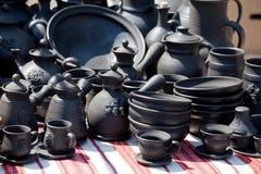 Servizio di ceramica Handmade dell'artigianato della via delle terraglie Fotografia Stock