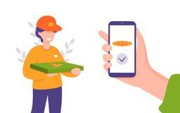 Servizio di distribuzione, applicazione mobile, uomo con pizza illustrazione di stock