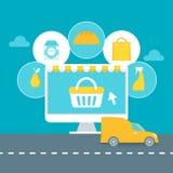 Servizio di distribuzione del supermercato o illustrazione online del supermercato Fotografia Stock