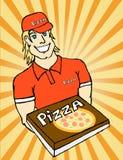 Servizio di distribuzione della pizza Immagine Stock Libera da Diritti