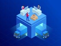 Servizio di distribuzione isometrico Furgone di consegna ed uomo del pacchetto Illustrazione piana di vettore di stile Illustrazione di Stock