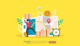 Servizio di distribuzione online concetto d'inseguimento preciso di ordine con il camion minuscolo della scatola del carico e del illustrazione di stock
