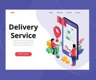 Servizio di distribuzione online, dove il pacchetto è stato concetto isometrico consegnato del materiale illustrativo royalty illustrazione gratis