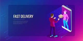 Servizio di distribuzione veloce isometrico, consegna online, acquisto online, concetto dell'insegna di web dello strumento di fi illustrazione di stock