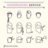 Servizio di lavoro di parrucchiere Linea icone di arte Fotografie Stock Libere da Diritti