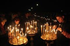 Servizio di notte ortodosso di Pasqua Fotografie Stock Libere da Diritti