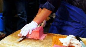 Servizio di pesci di Tsukiji Fotografia Stock