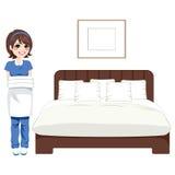 Servizio di pulizia della camera da letto dell'hotel illustrazione vettoriale