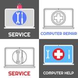 Servizio di riparazione del computer Insieme dell'icona di aiuto del computer portatile Immagini Stock