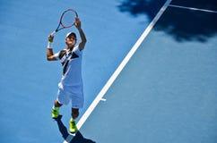 Servizio di Roger Federer Fotografia Stock