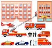 Servizio di salvataggio dei vigili del fuoco e dell'ambulanza Fotografie Stock