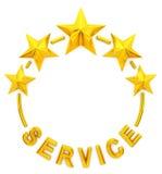Servizio dorato della stella cinque Fotografia Stock
