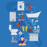 Servizio Infographics dell'impianto idraulico Fotografia Stock Libera da Diritti