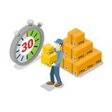 Servizio isometrico dell'uomo di consegna commovente piana 3d illustrazione di stock