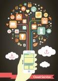 Servizio mobile della nuvola infographic Fotografia Stock Libera da Diritti