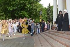 Servizio nella chiesa ortodossa Fotografie Stock