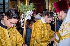 Servizio nella chiesa ortodossa Fotografia Stock