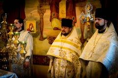 Servizio nella chiesa ortodossa Immagine Stock Libera da Diritti