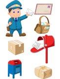 Servizio postale del fumetto con la borsa e la lettera illustrazione di stock