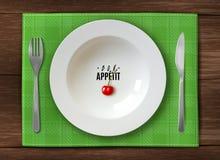 Servizio realistico del piatto piatto pulito bianco sulla tavola di legno con il coltello e forcella vi che augura verde del appe illustrazione di stock