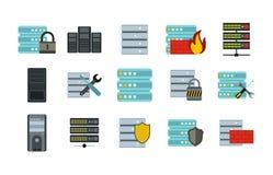 Serwer ikony set, mieszkanie styl ilustracja wektor