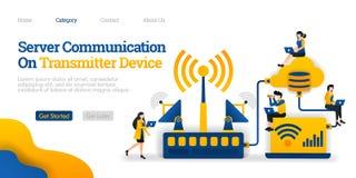 Serwer komunikacja na nadajnika przyrządzie nadajnik zakłóca dane od baza danych Wektorowy płaski ilustracyjny pojęcie, reklamy royalty ilustracja