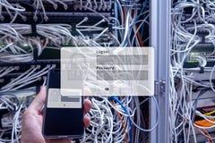Serweru pokój, prośba, dane dostęp i ochrona, nazwy użytkownika i hasła, obrazy stock