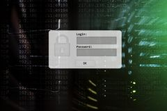 Serweru pokój, prośba, dane dostęp i ochrona, nazwy użytkownika i hasła, obrazy royalty free