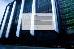 Serweru pokój, prośba, dane dostęp i ochrona, nazwy użytkownika i hasła, obraz royalty free