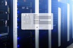 Serweru pokój, prośba, dane dostęp i ochrona, nazwy użytkownika i hasła, obraz stock