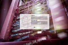 Serweru pokój, prośba, dane dostęp i ochrona, nazwy użytkownika i hasła, zdjęcie royalty free