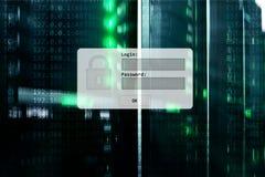 Serweru pokój, prośba, dane dostęp i ochrona, nazwy użytkownika i hasła, zdjęcia royalty free