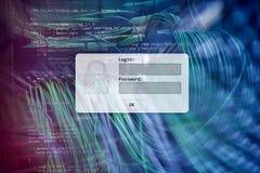 Serweru pokój, prośba, dane dostęp i ochrona, nazwy użytkownika i hasła, fotografia royalty free