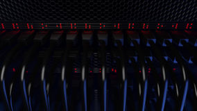 Serwery, rozblaskowi czerwone światła i włączniki, CGI Obraz Royalty Free