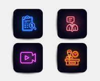 Serwis pomocy, Rozliczający raport i kamera wideo ikony Prezentacja czasu znak wektor ilustracji