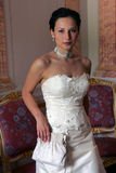 Serxy bride in white corset Stock Photos