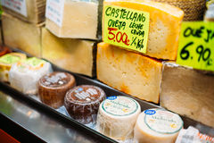 Sery na lokalnym sklepu spożywczego rynku Obraz Stock
